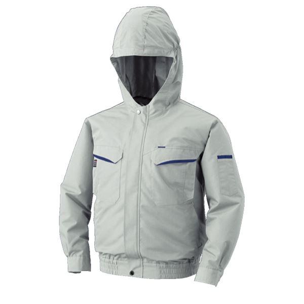 空調服 フード付綿・ポリ混紡 長袖ワークブルゾン リチウムバッテリーセット BK-500FC06S4 シルバー 2L