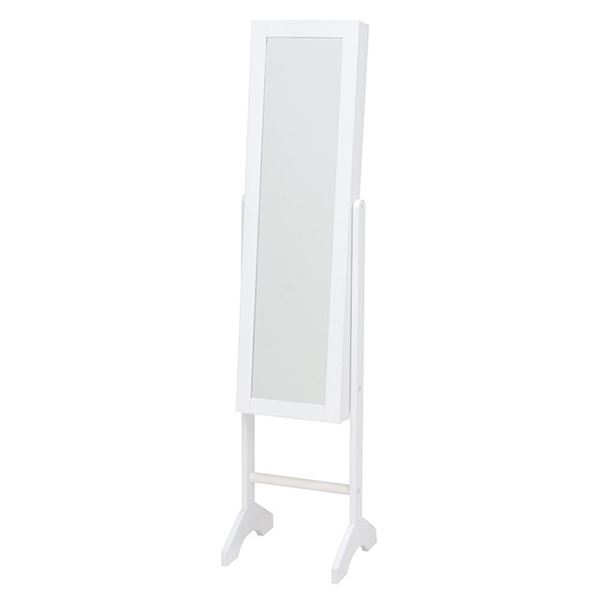【スーパーセールでポイント最大44倍】スタンドミラー(ジュエリーボックス/全身姿見鏡) 幅35cm 収納スペース付き ホワイト(白) 【代引不可】