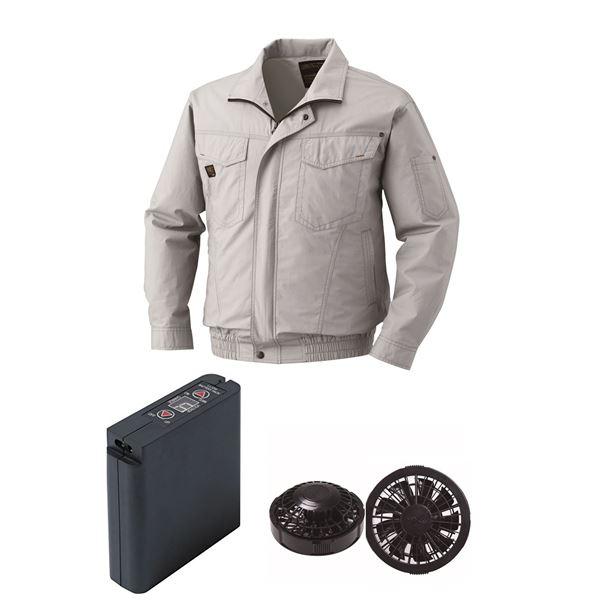 空調服 綿薄手タチエリ空調服 大容量バッテリーセット ファンカラー:ブラック 1400B22C06S3 【カラー:シルバー サイズ:L 】
