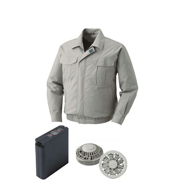 空調服 綿薄手ワーク空調服 大容量バッテリーセット ファンカラー:グレー 0550G22C17S4 【カラー:モスグリーン サイズ:2L】