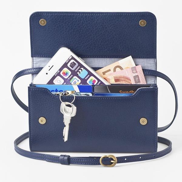 【マラソンでポイント最大43倍】お財布にもなる「ショルダーミニバッグ・プラス・マリンブルー」iPhone 6Plus/7Plusなど大きいスマホも入る / スイス発カーフレザー製