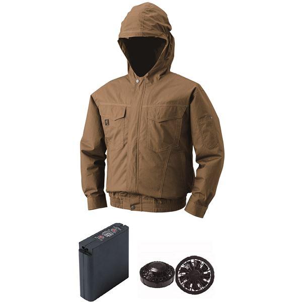 空調服 フード付綿薄手空調服 大容量バッテリーセット ファンカラー:ブラック 1410B22C20S3 【カラー:キャメル サイズ:L 】