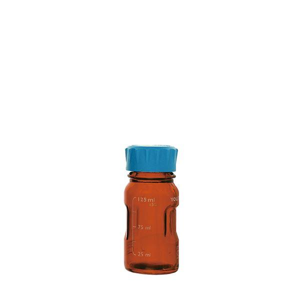 【柴田科学】ユーティリティーねじ口びん 茶褐色 水キャップ付 125mL【4個】 017320-125A