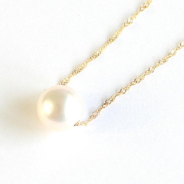 花珠真珠 8mm珠 ネックレス k10 パール ペンダント【代引不可】