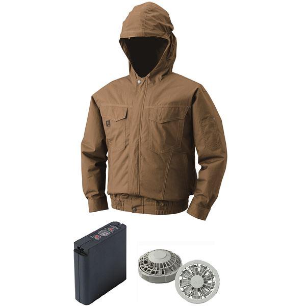 空調服 フード付綿薄手空調服 大容量バッテリーセット ファンカラー:グレー 1410G22C20S5 【カラー:キャメル サイズ:XL】