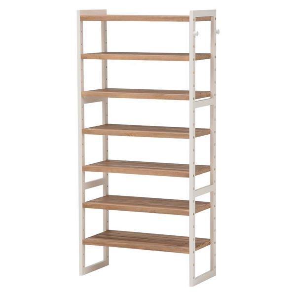 シューズラック(下駄箱/収納棚) 6段 幅60cm 木製 高さ調節可 フック/可動棚付き アイボリー 【代引不可】