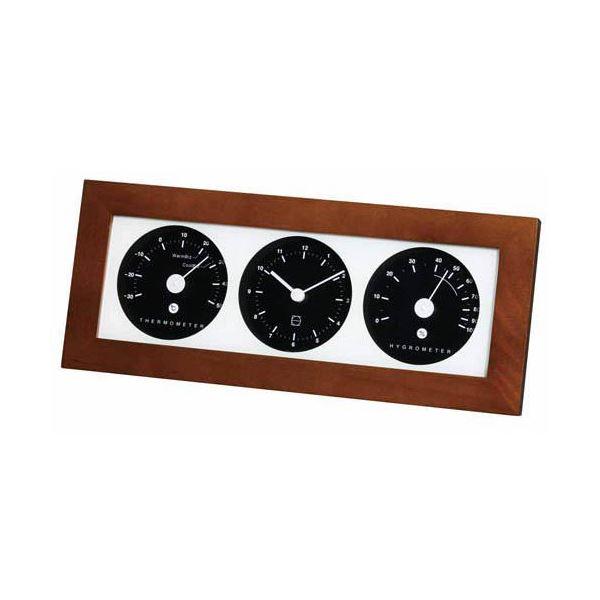 【マラソンでポイント最大43倍】(まとめ)EMPEX 置き掛け兼用 時計 リビウッディ温・湿クロック LV-4302 ダークブラウン【×2セット】