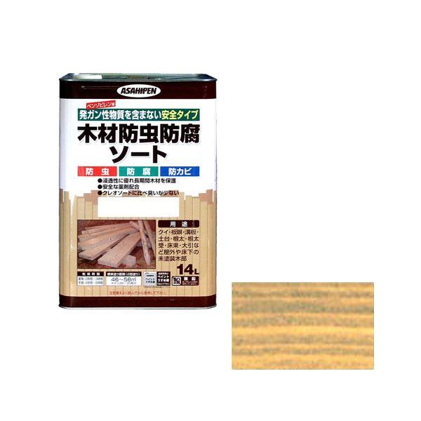 【マラソンでポイント最大43倍】アサヒペン AP 木材防虫防腐ソート 14L 透明(クリヤ)