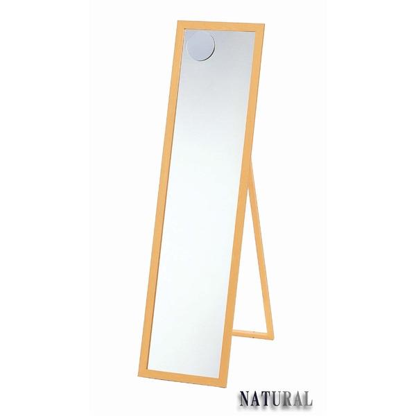 【スーパーセールでポイント最大44倍】ウッドウォールミラー/全身姿見鏡 【スタンド付き】 木製フレーム 拡大鏡付き ナチュラル 日本製