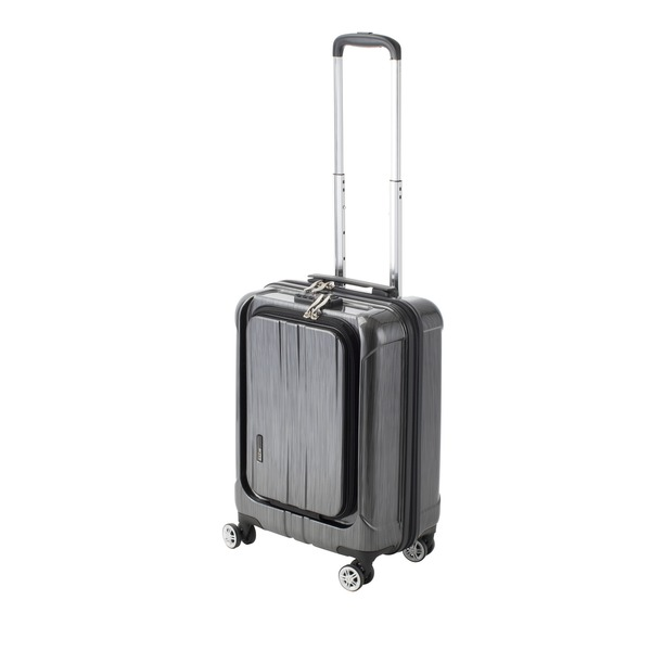 フロントオープン スーツケース/キャリーバッグ 【ブラックヘアライン】 35L 機内持ち込みサイズ 『アクタス ポライト』【代引不可】