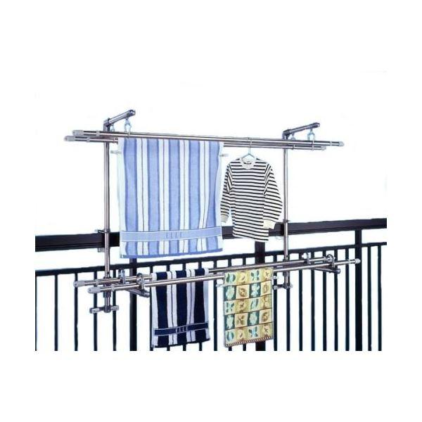 ステンレス製物干し金具セット(洗濯物干し) 太さ5~10cmまでの手すり(角パイプ・丸パイプ)に取付可