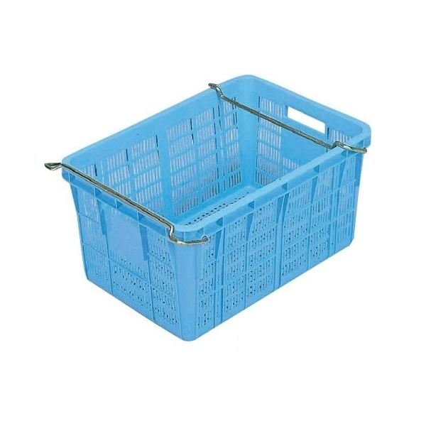 【5個セット】プラスケット/網目ボックス 【No.750II 金具付き】 ブルー スタッキング金具使用時:段積み可【代引不可】