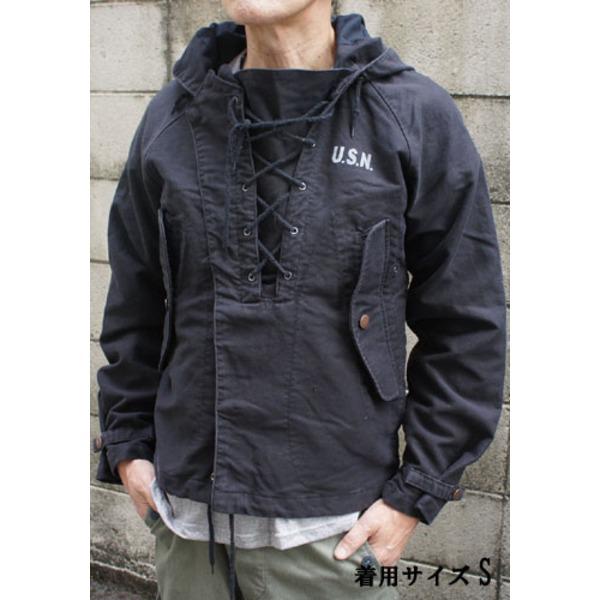 アメリカ海軍 ウェットウェザーパーカー/ジャケット 【 Sサイズ 】 綿100% JP050YN ブラック 【 レプリカ 】