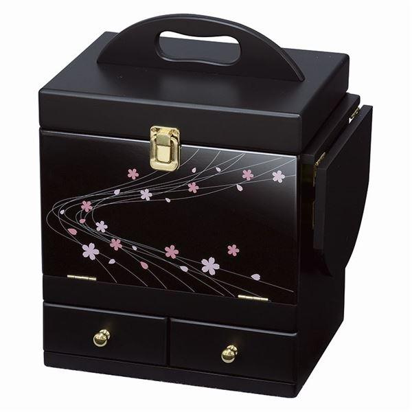 蒔絵調コスメボックス/メイクボックス 【ブラック】 幅26cm 持ち手/ミニテーブル/三面鏡付き 【代引不可】