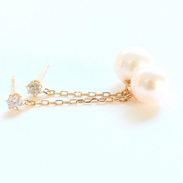 18金 7mmあこや真珠 0.2ct 天然ダイヤモンドチェーンピアス パールピアス【代引不可】