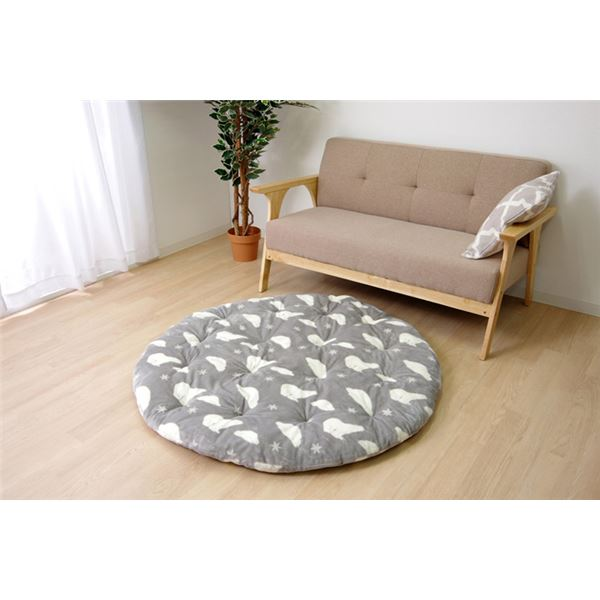 なめらかタッチ ラグマット/絨毯 【グレー 直径約185cm】 円形 洗える シロクマ柄 ボリュームタイプ 『プルミエ』