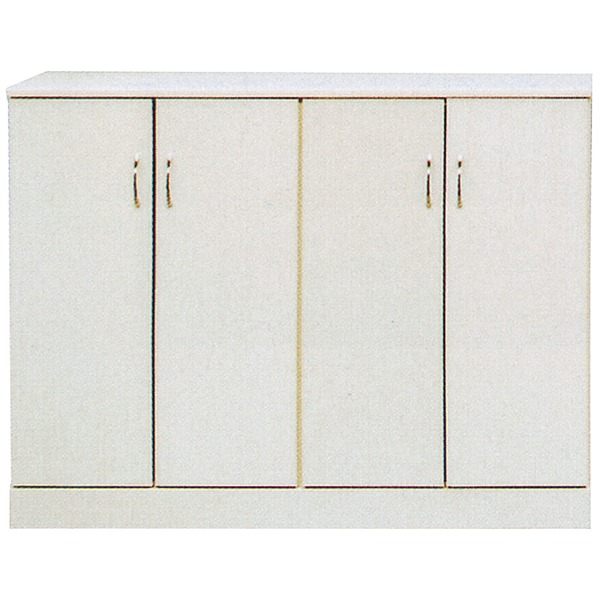 ローシューズボックス(下駄箱) 幅120cm×奥行38cm×高さ92cm 日本製 ホワイト(白) 【PLAZA2】プラザ2 【完成品】【代引不可】