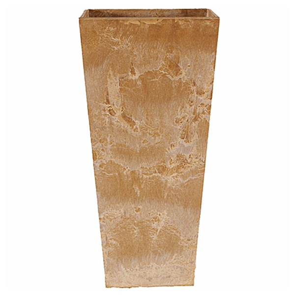 底面給水型 植木鉢/プランター 【トールスクエア型 ベージュ 幅35cm×高さ70cm】 底栓付 『アートストーン』 〔園芸用品〕