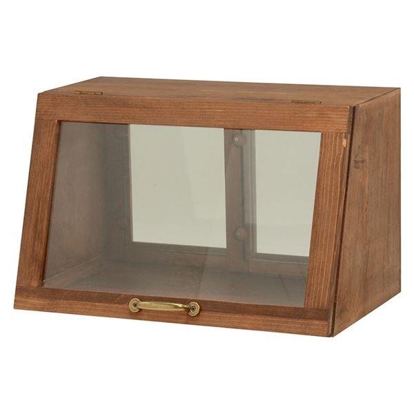 【マラソンでポイント最大43倍】カウンター上ガラスケース(キッチン収納/スパイスラック) 木製 幅40cm×高さ25cm ブラウン 取っ手/引き戸付き【代引不可】