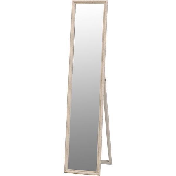 スタンドミラー(全身姿見鏡) 幅33cm×高さ150cm アンティーク調 ホワイト(白)【代引不可】