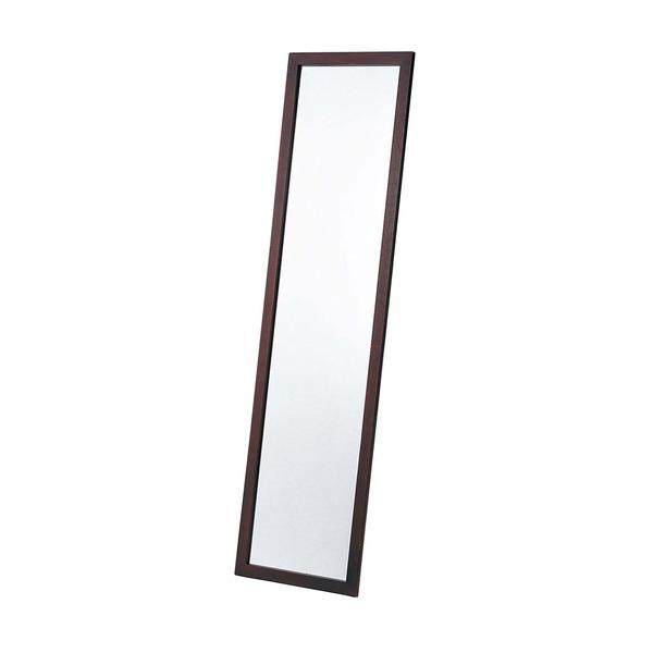 【スーパーセールでポイント最大44倍】ウォールミラー/全身姿見鏡 【壁掛け用】 ブラウン 木製フレーム 壁掛けひも付き 日本製