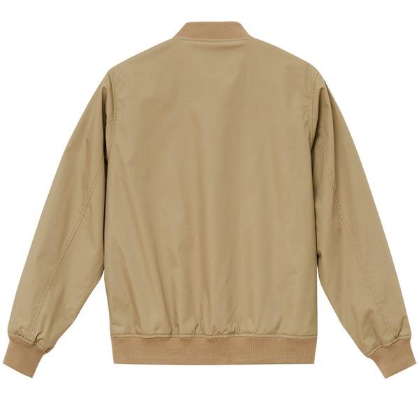 テカリを抑えた綿混・撥水加工、防風加工、裏地付スタジアムジャケット ベージュ XL