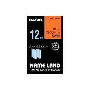 【マラソンでポイント最大43倍】(業務用50セット) カシオ CASIO 蛍光テープ XR-12FOE 橙に黒文字 12mm
