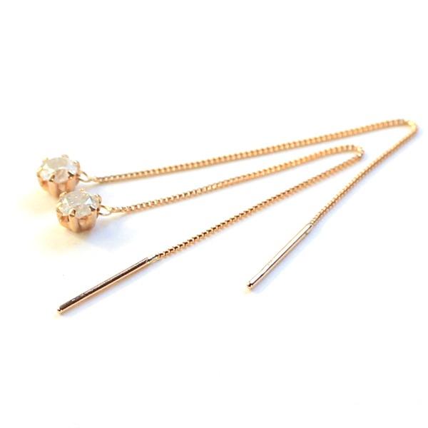 k18 ピンクゴールド ダイヤモンド 0 3ct アメリカン チェーンピアスF1Tc3JlK