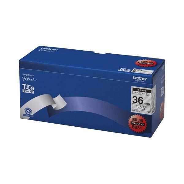 (まとめ)ブラザー BROTHER ピータッチ TZeテープ ラミネートテープ 36mm 透明/黒文字 業務用パック TZE-161V 1パック(5個)【×3セット】