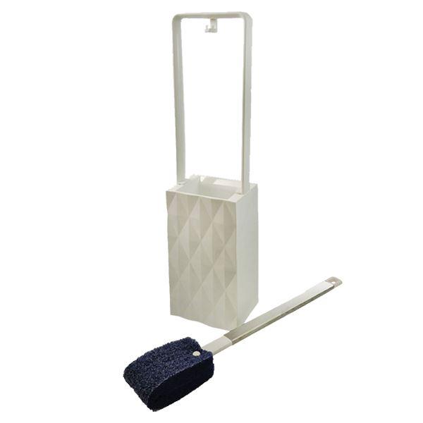 (まとめ) トイレブラシ・ケースセット/トイレ用品 【ホワイト】 フッ素ガード 【×12個セット】