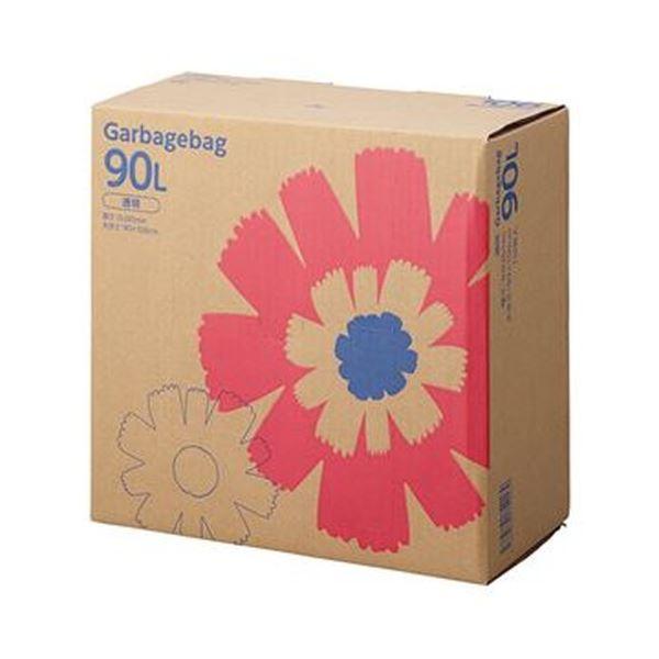 (まとめ)TANOSEE ゴミ袋 コンパクト 透明90L BOXタイプ 1箱(110枚)【×5セット】