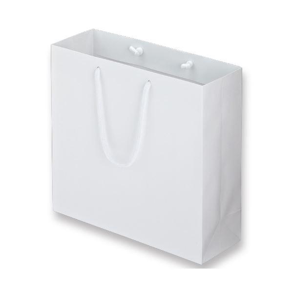 (まとめ) TANOSEE マットコート手提げ袋 M ヨコ320×タテ300×マチ幅110mm ホワイト 1パック(10枚) 【×5セット】