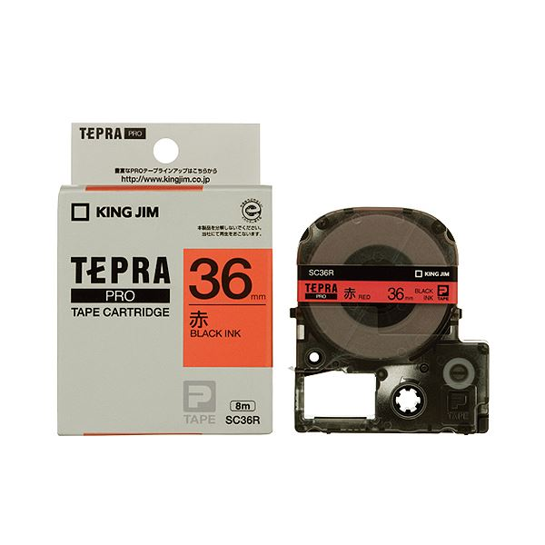 (まとめ) キングジム テプラ PRO テープカートリッジ パステル 36mm 赤/黒文字 SC36R 1個 【×5セット】