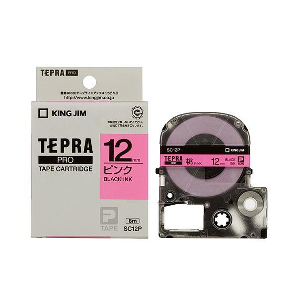 (まとめ) キングジム テプラ PRO テープカートリッジ パステル 12mm ピンク/黒文字 SC12P 1個 【×10セット】