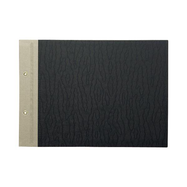 (まとめ) TANOSEE とじ込表紙 クロス貼り A4ヨコ 2穴 1セット(10組20枚:1組2枚×10パック) 【×10セット】