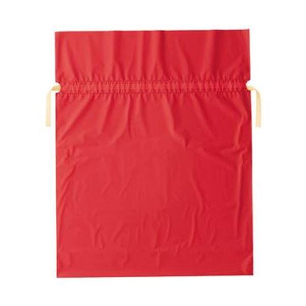 (まとめ)店研創意 ストア・エキスプレス梨地リボン付ギフトバッグ レッド 45cm 1パック(20枚)【×10セット】