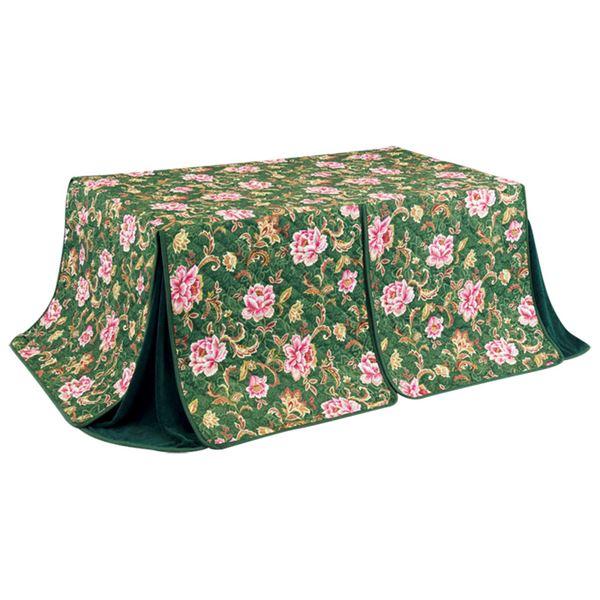 こたつ布団 2点セット 【幅150cm】 長方形 ダイニングテーブル用 掛け布団+上掛け グリーン 洗える 〔リビング 居間〕