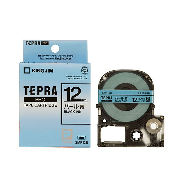 (まとめ) キングジム テプラ PRO テープカートリッジ カラーラベル(パール) 12mm 青/黒文字 SMP12B 1個 【×10セット】