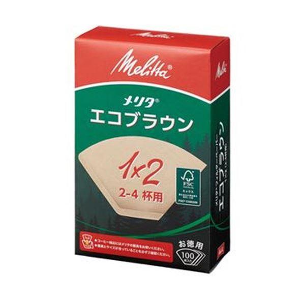 (まとめ)メリタ N エコブラウン 1×2G2~4杯用 PE-12GBN 1セット(1000枚:100枚×10箱)【×10セット】