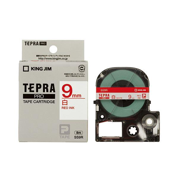 (まとめ) キングジム テプラ PRO テープカートリッジ 9mm 白/赤文字 SS9R 1個 【×10セット】