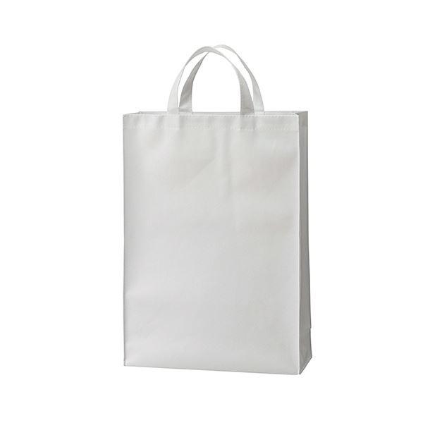 (まとめ) TANOSEE 不織布バッグ 中ヨコ320×タテ450×マチ幅120mm ホワイト 1パック(10枚) 【×10セット】