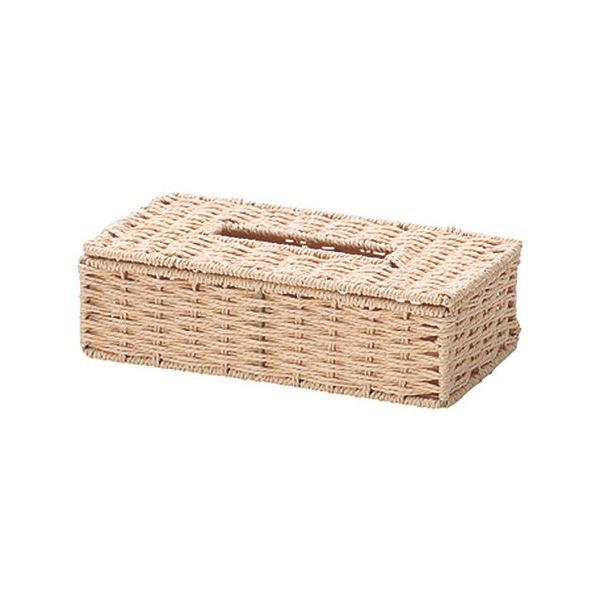 (まとめ) ペーパー製 ティッシュケース/収納ケース 【ベージュ】 幅26×奥行13.5×高さ7cm 【×40個セット】