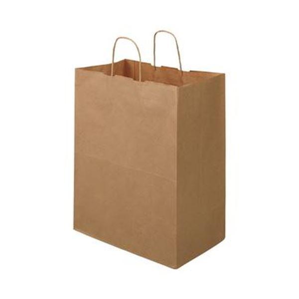 (まとめ)TANOSEE 紙手提袋 丸紐マチ広・大 ヨコ350×タテ440×マチ幅210mm 茶無地 1パック(50枚)【×5セット】
