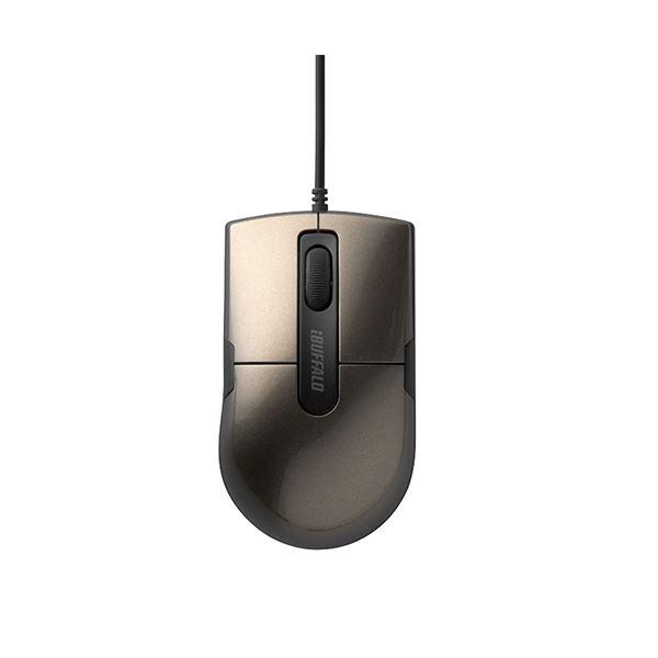 (まとめ) バッファロー 有線BlueLEDマウス静音 3ボタン Sサイズ ブラウン BSMBU26SSBW 1個 【×10セット】