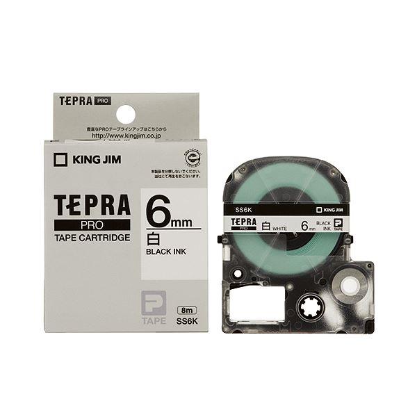 (まとめ) キングジム テプラ PRO テープカートリッジ 6mm 白/黒文字 SS6K 1個 【×10セット】