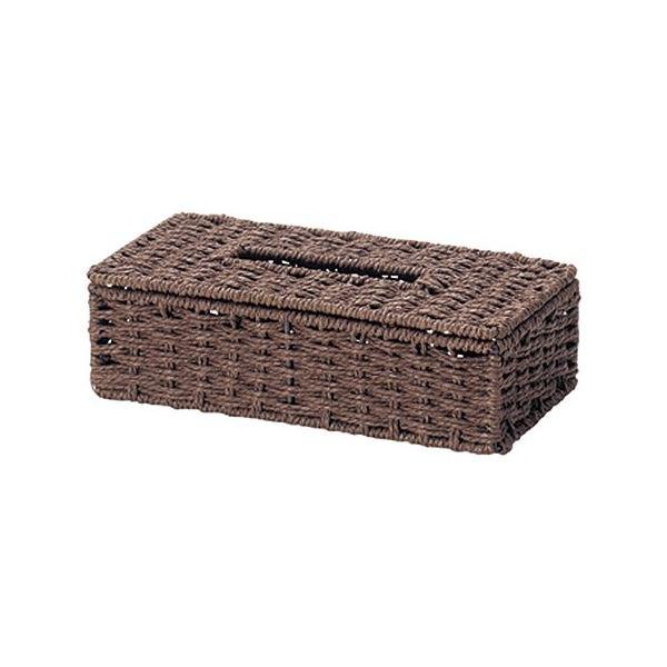 (まとめ) ペーパー製 ティッシュケース/収納ケース 【ブラウン】 幅26×奥行13.5×高さ7cm 【×40個セット】