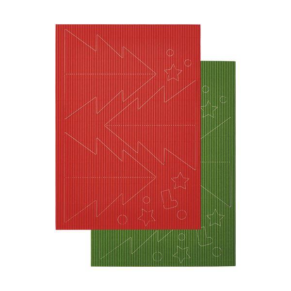 【スーパーセールでポイント最大44倍】(まとめ) ヒサゴ リップルボード 薄口 型抜きクリスマスツリー 緑・赤 RBUT3 1パック 【×30セット】