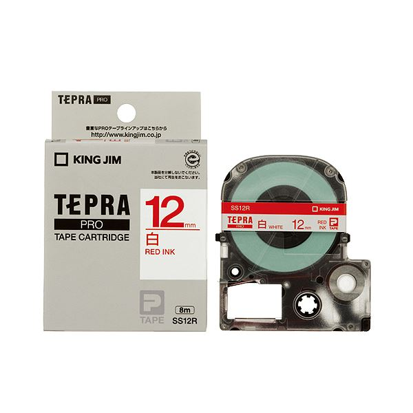 (まとめ) キングジム テプラ PRO テープカートリッジ 12mm 白/赤文字 SS12R 1個 【×10セット】