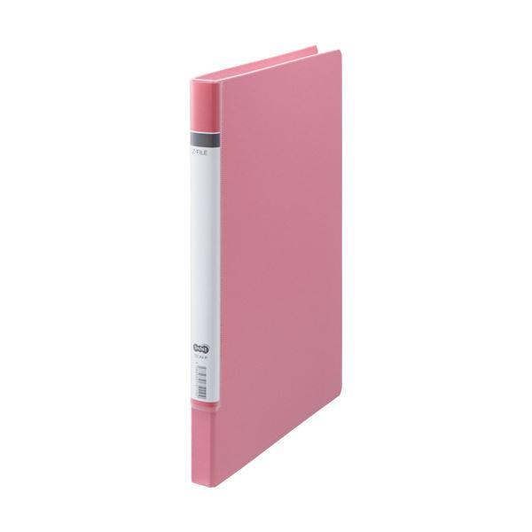 (まとめ) TANOSEE Zファイル(貼り表紙)ロングタイプ ピンク 1セット(10冊) 【×5セット】