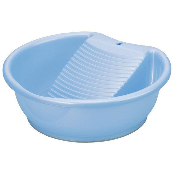 (まとめ) 洗濯桶/洗い桶 【洗濯板機能付き】 パールブルー 部分洗い つけ置き洗い 洗濯用品 ラブウォッシュ 【×30個セット】